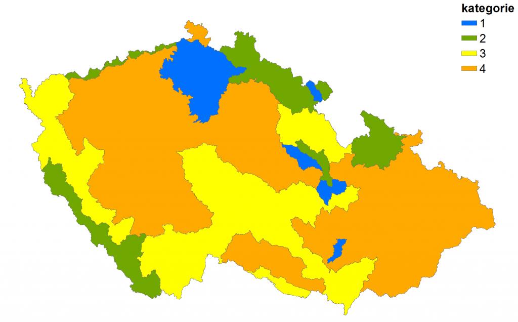 Obrázek 3: Rozdělení České republiky do jednotlivých kategórií