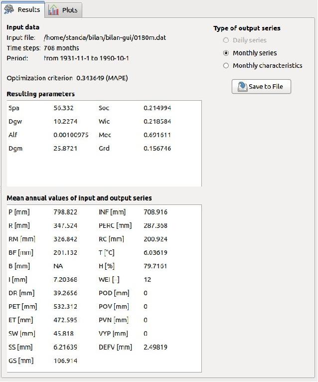 Obrázek 10: Karta Výsledky s vypočtenými hodnotami