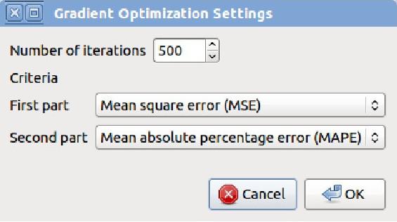 Obrázek 7: Nastavení lokálního gradientního optimalizačního algoritmu